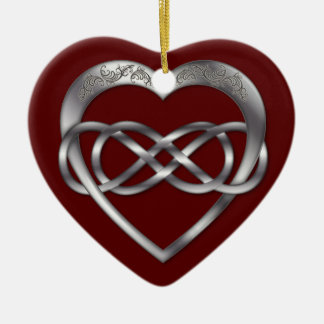 Double Infinity Silver Heart 4 - Ornament