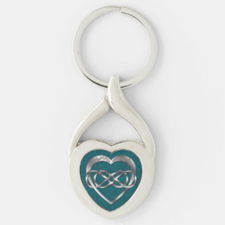Double Infinity & Silver Heart on Teal - Key Chain