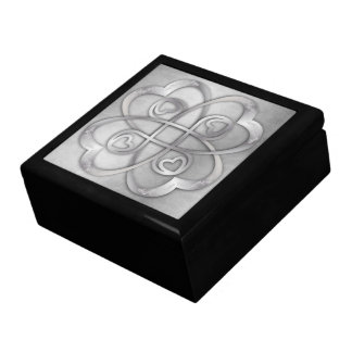 Double Infinity Silver Hearts - 2 Overlapping Gift Box