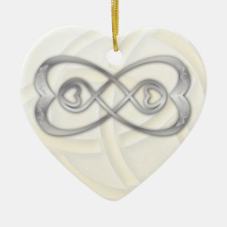 Double Infinity Silver Hearts on White Heart 1 Christmas Ornament