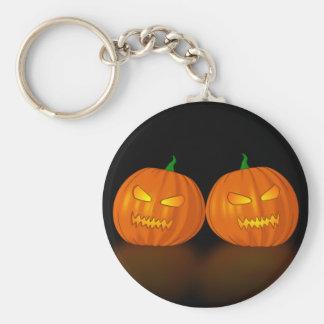Double Jack O Lanterns Basic Round Button Key Ring