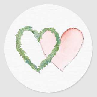 Double Laurel Heart Pink Watercolor Sticker