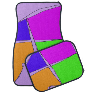 Double Lines Light Purple Car Mat