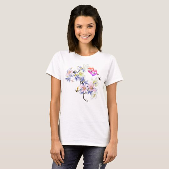 Double Monogram Flaming Hearts with Flowers T-Shirt