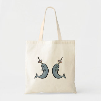 double narwhale and donut budget tote bag