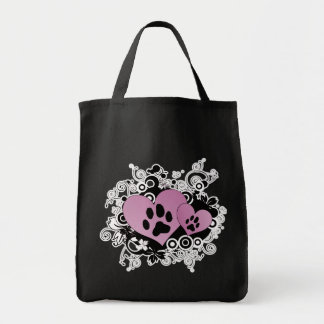Double Paw Valentine Hearts - Pink Tote Bag
