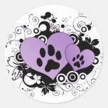 Double Paw Valentine Hearts - Purple Round Sticker