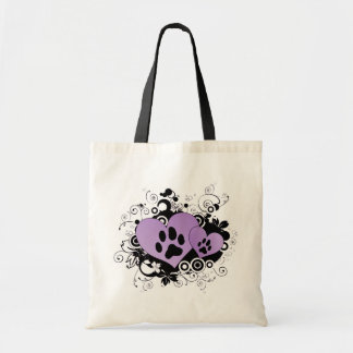 Double Paw Valentine Hearts - Purple Tote Bag