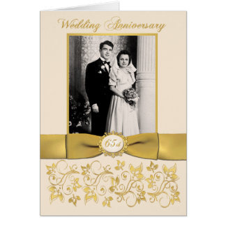 Double Photo 65th Anniversary Invitation Card
