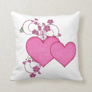 Double Pink Heart & Glitter Design Valentine's Day Throw Pillow