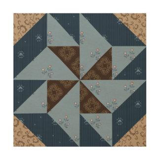 Double Pinwheel Quilt Block Wood Panel Wall Art