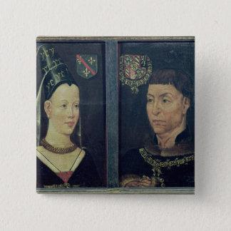 Double portrait of Charles le Temeraire  Duke 15 Cm Square Badge