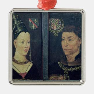 Double portrait of Charles le Temeraire  Duke Silver-Colored Square Decoration