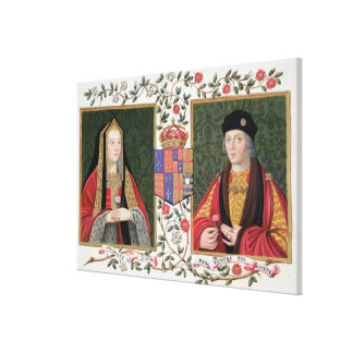 Double portrait of Elizabeth of York (1465-1503) a Canvas Print