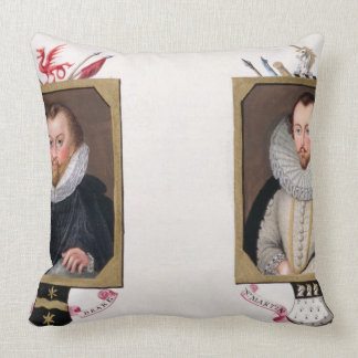 Double portrait of Sir Francis Drake (c.1540-96) a Throw Pillows