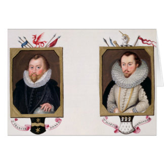 Double portrait of Sir Francis Drake (c.1540-96) a Greeting Card