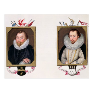 Double portrait of Sir Francis Drake (c.1540-96) a Postcard