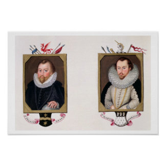 Double portrait of Sir Francis Drake (c.1540-96) a Poster
