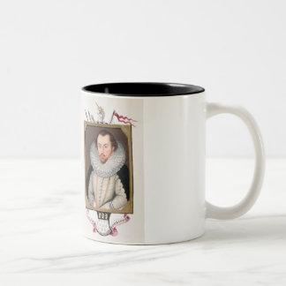 Double portrait of Sir Francis Drake (c.1540-96) a Two-Tone Coffee Mug