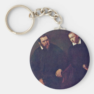 Double Portrait Of Two Men By Tintoretto Jacopo (B Basic Round Button Key Ring