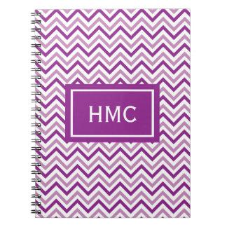 Double Purple Chevron Monogram Notebook