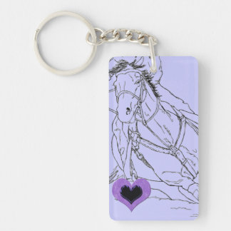 Double Purple Heart Barrel Racer ~ Keychain