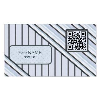 Double QR Code Retro Blue Business Card Template