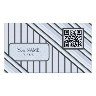 Double QR Code Retro Blue Pack Of Standard Business Cards
