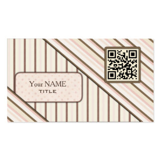 Double QR Code Retro Pink Pack Of Standard Business Cards