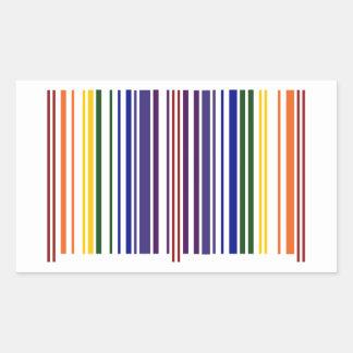 Double Rainbow Barcode Rectangular Sticker
