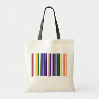 Double Rainbow Barcode Tote Bags