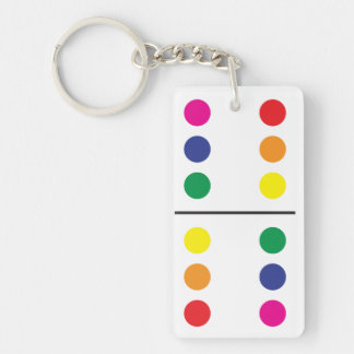 Double Rainbow Domino Keychain