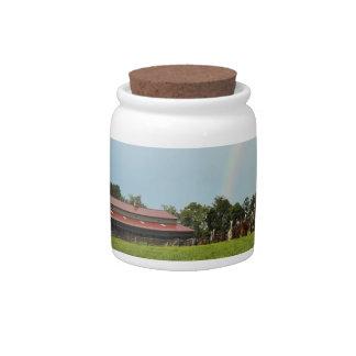Double Rainbow Farm Scene Candy Jar