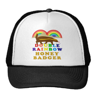 double rainbow honey badger mesh hat