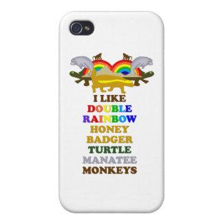 Double Rainbow Honey Badger Turtle manatee monkeys iPhone 4 Case
