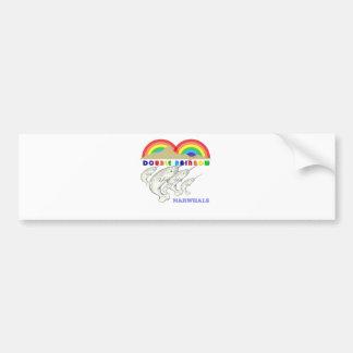 double rainbow narwhals bumper sticker