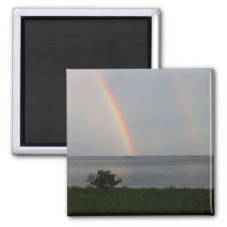 Double Rainbow over Ocean Square Magnet