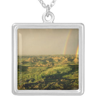 Double Rainbow over Painted Canyon in Theodore Silver Plated Necklace