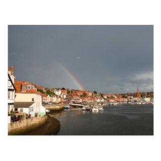 double rainbow over Whitby, UK - postcard
