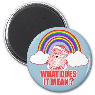 Double Rainbow Santa Claus 6 Cm Round Magnet