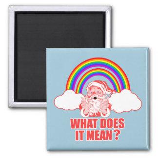Double Rainbow Santa Claus Square Magnet