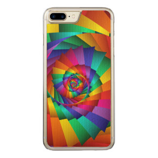 Double Rainbow Spiral iPhone 6 Plus Slim Wood Carved iPhone 8 Plus/7 Plus Case