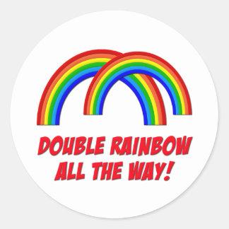 Double Rainbow Round Sticker