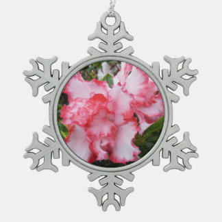 Double Red and White Azaleas Spring Floral Pewter Snowflake Decoration