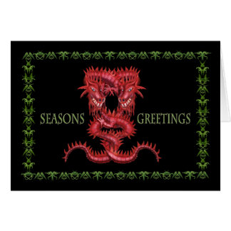 Double Red Dragon Greetings Card  blank inside