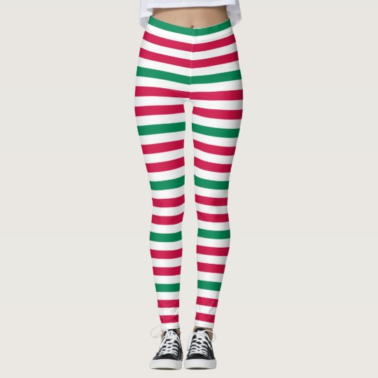Double Red With Green Stripes Leggings