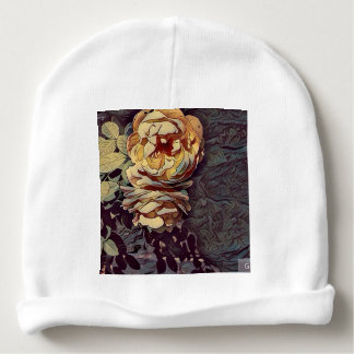 Double rose watercolour baby beanie