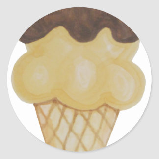 Double Scoop Ice Cream Cone Classic Round Sticker