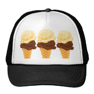 Double Scoop Ice Cream Cone Teal Stripes Mesh Hats