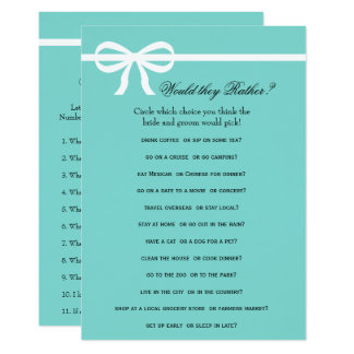 Double Side Aqua & Bows Bridal Shower Games Card